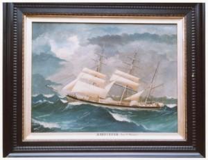Amicitia in zwaar weer, Teunis Pronker liet dit schilderij in 1897 in Newcastle NSW in Australië maken.