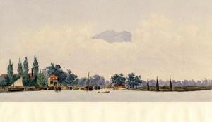ingang rivier Kalimas in Soerabaya, aquarel P.Krayenhof