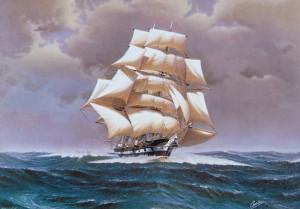 van het prachtige schilderij van scheepsschilder C.A. de Vries werden ook ansichtkaarten gemaakt..