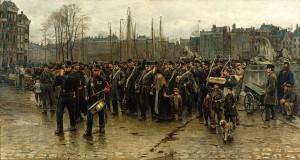prachtig schilderij van Isaac Israëls uit 1883-1884 van een transport kolonialen