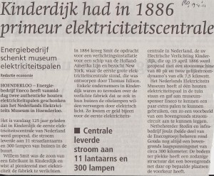 in 1886 kreeg Kinderdijk de eerste electriciteitscentrale van Nederland