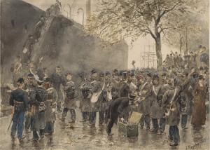 inscheping koloniale troepen 1882, aquarel Hoynck v.Papendrecht, coll. Atlas v.Stolk