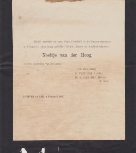rouwkaart Neeltje (Nees) van der Hoog 1903