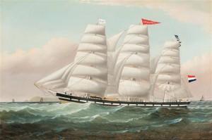 Lichtstraal, geschilderd, 1882; in de WH York,Pool, Engeland, fokkemast de witte kapiteinsvlag met P v d H, in de grote mast de rode naamvlag Lichtstraal, in de bezaan de rederijvlag blauw met gele ster, daaronder seinvlaggen