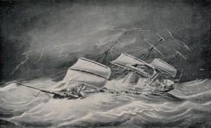 Lichtstraal, tekening in 1868 gemaakt door de bekende scheepsschilder Jacob Spin