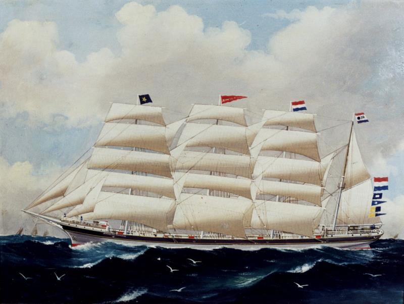 Jeannette Francoise, olieverf op doek rond 1897, Australische schilder Arthur Victor Gregory, hangt in Noordelijk Scheepvaart Museum