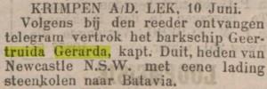 bericht in Rotterdamsch Nieuwsblad, 13-6-1898