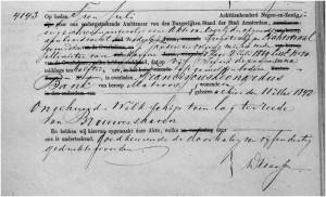 """matroos Franciscus Leonardus Bank overleed aan boord van de """"Lichtstraal"""" op 5 juni 1869"""