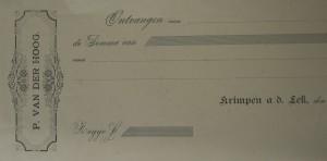 bladzijde uit het chequeboek van Pieter