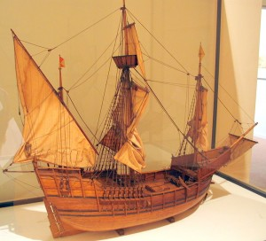 "maquette van de kraak ""Santa Maria"" van Columbus"